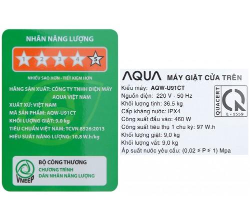 Máy Giặt Aqua 9 Kg AQW-U91CT